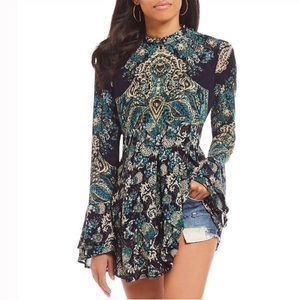 Free People•Lady Luck Mock Neck Bell Sleeve Tunic